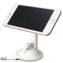 Univerzális, 360 fokban forgatható telefontartó, vákuumos rögzítéssel, Fehér színben