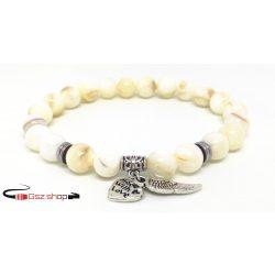 Ásványi kőből készült gyöngy karkötő / fehér
