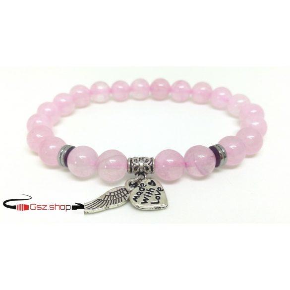 Ásványi kőből készült gyöngy karkötő / rózsaszín